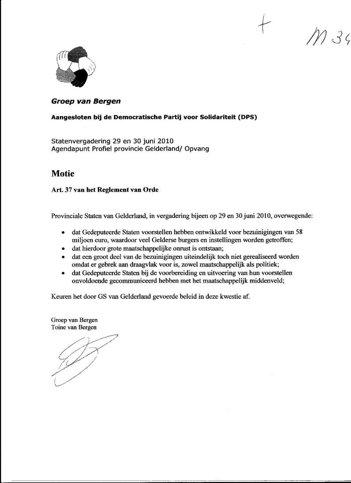 Bezuinigingsbeleid Gelderland motie van afkeuring