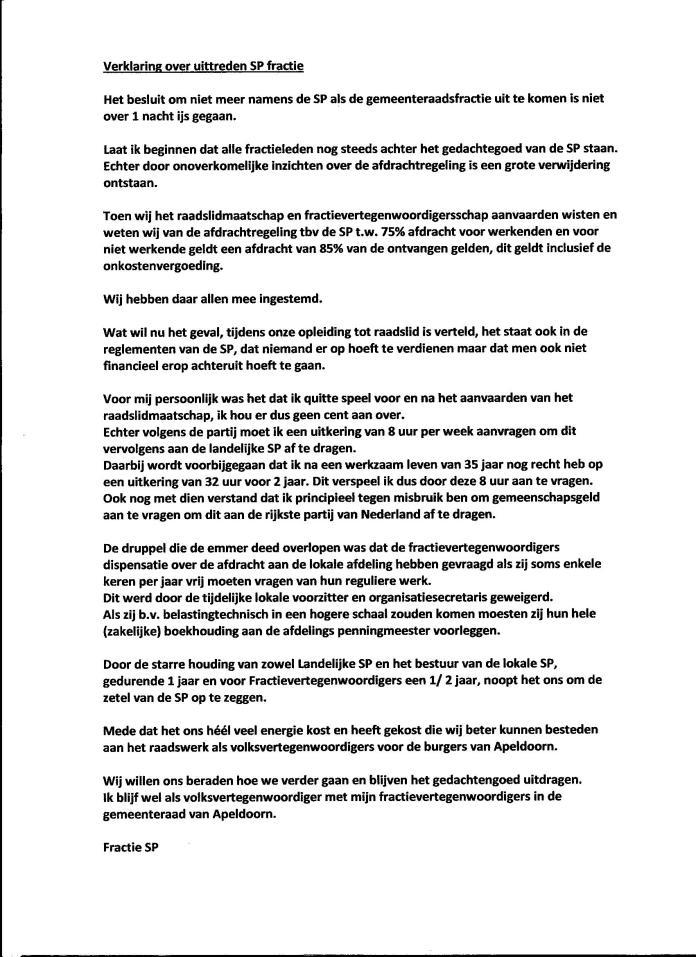 SP Apeldoorn verklaring