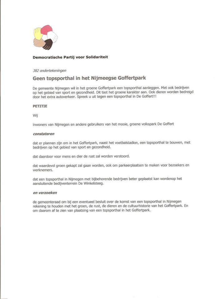 Petitie topsporthal Goffertpark 001